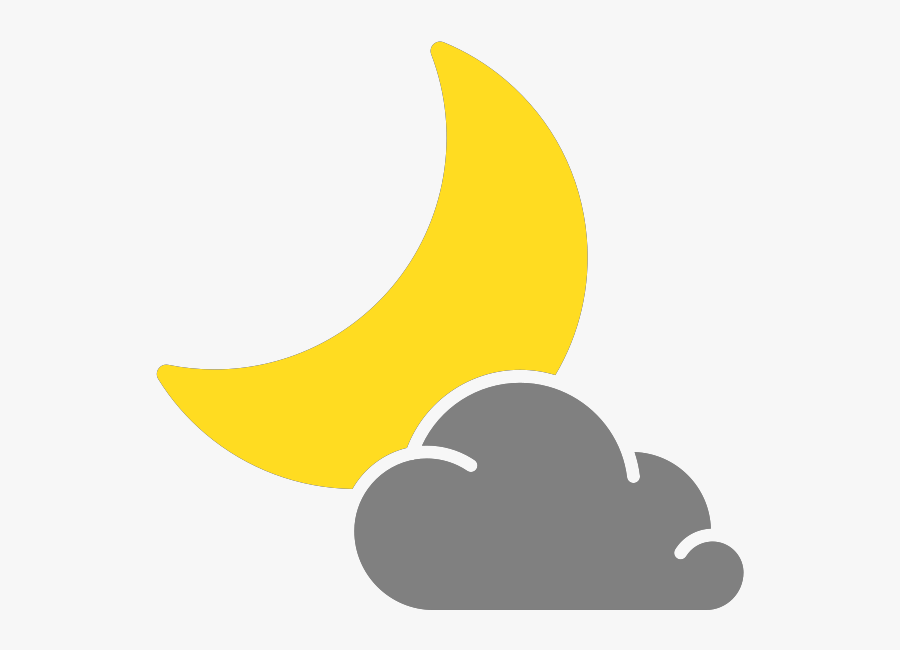 Simple Weather Icons Cloudy Night - Cloudy Night Weather Symbol, Transparent Clipart