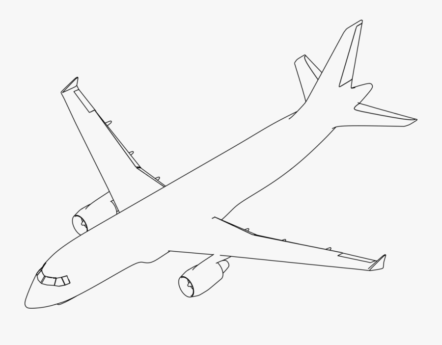 Line Art,angle,area - Black And White Airplane Illustration, Transparent Clipart
