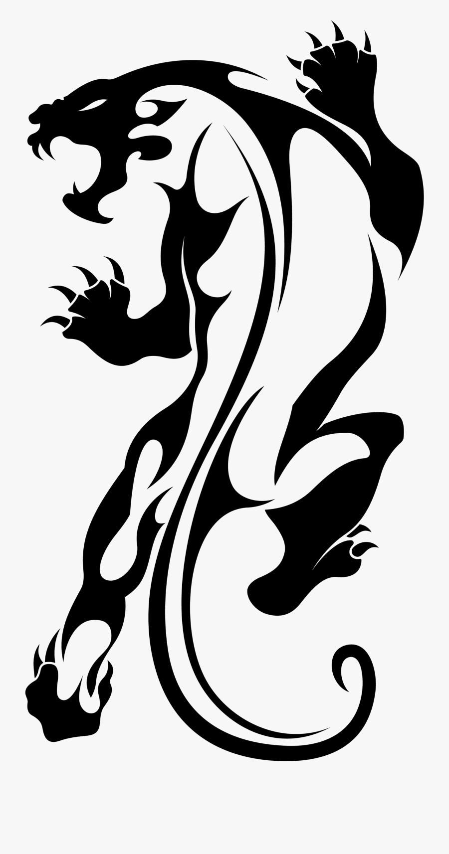 Tattoo Jaguar Leopard Tiger Lion Vector - Tribal Panther Tattoo Design, Transparent Clipart
