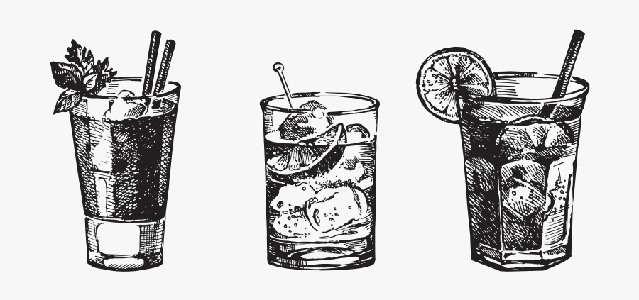 Clip Art Cocktail Drawing - Gin And Tonic Tattoo, Transparent Clipart
