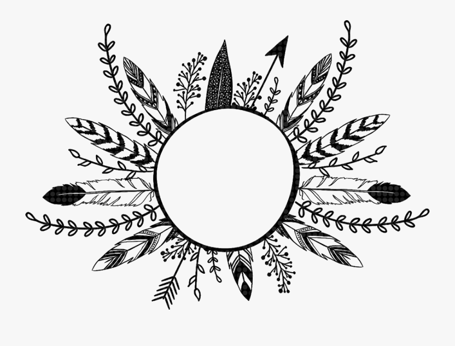 #feathers #arrow #flowers #leaves #frame #border #divider - Feather Arrow Wreath Png, Transparent Clipart