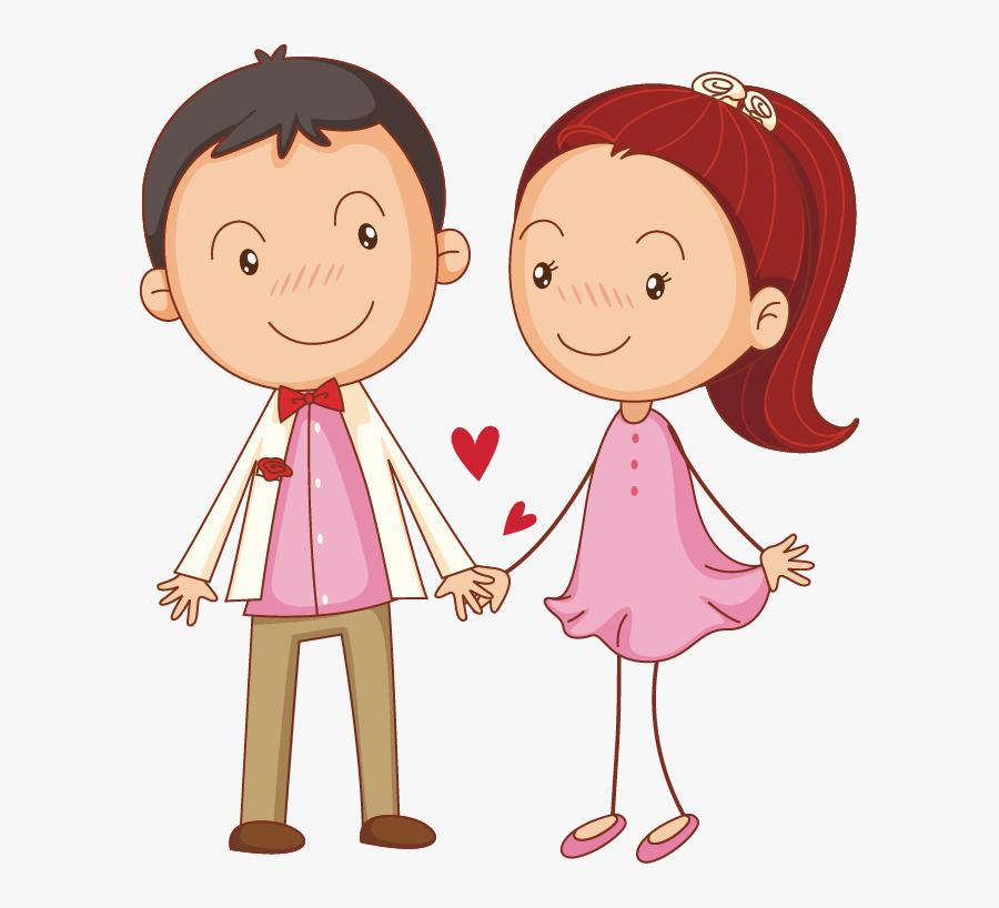 Couple Illustration Cute Little Transprent Png Free - Couples Holding Hands Clip Art, Transparent Clipart
