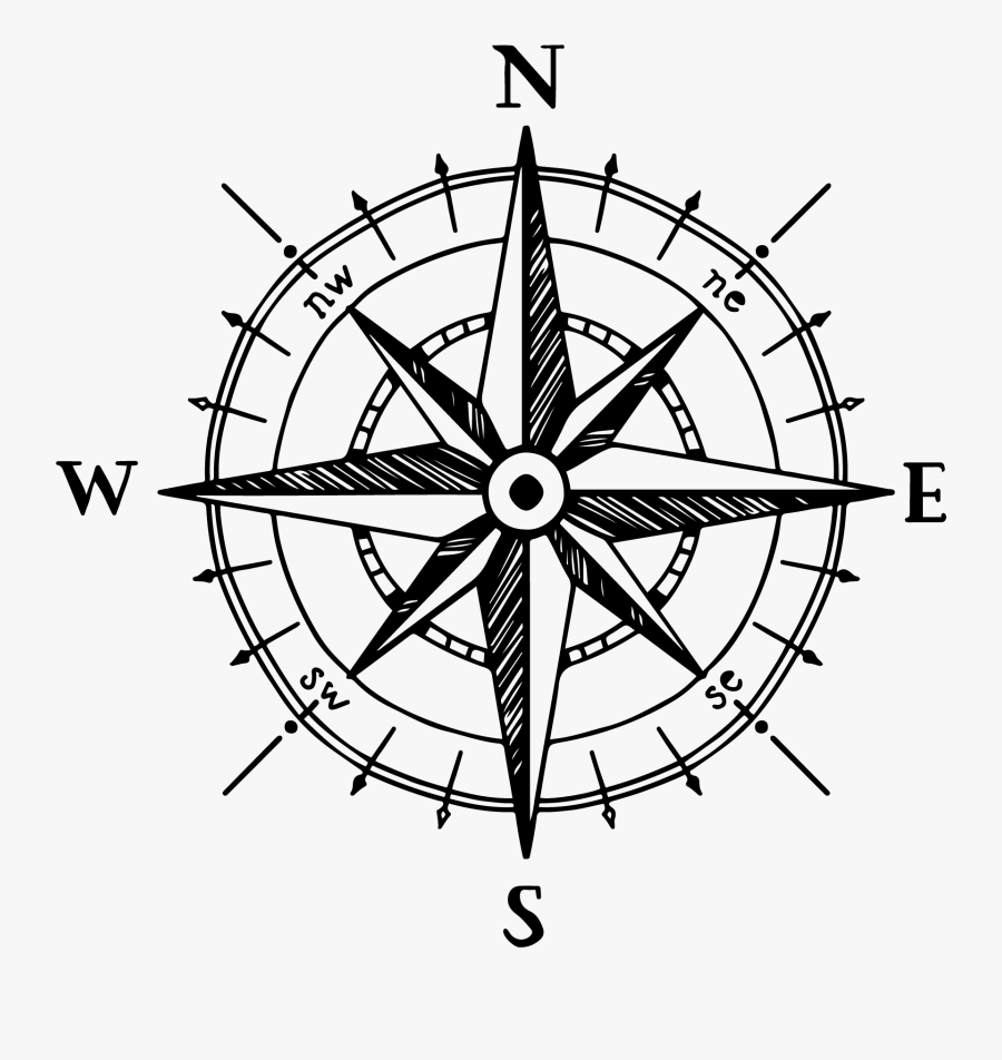 North Compass Rose Drawing - Compass Rose Hand Drawn, Transparent Clipart