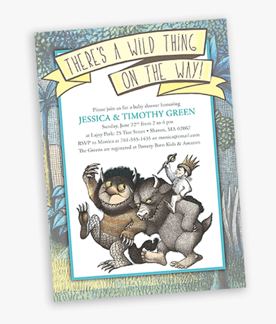 Where The Wild Things Are Baby Shower Invitaiton - Wild Things Are Characters, Transparent Clipart