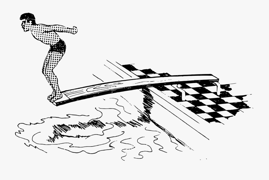 Springboard Wiktionary - Dive Clipart Black And White, Transparent Clipart