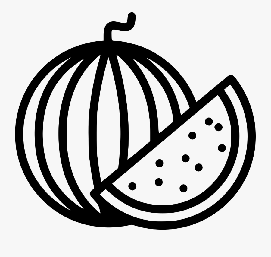 Watermelon Slice Food Plant Tree - Watermelon Black And White Png, Transparent Clipart