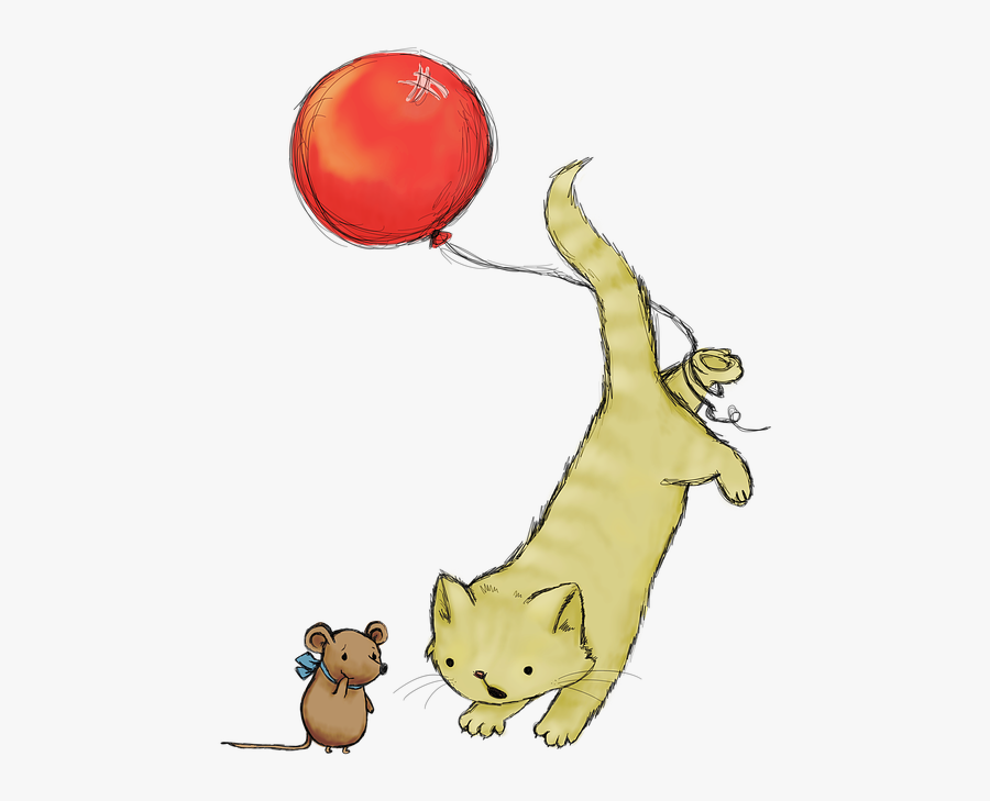 Cat Cat And Mouse Cute - Nature Drawing And Animals, Transparent Clipart