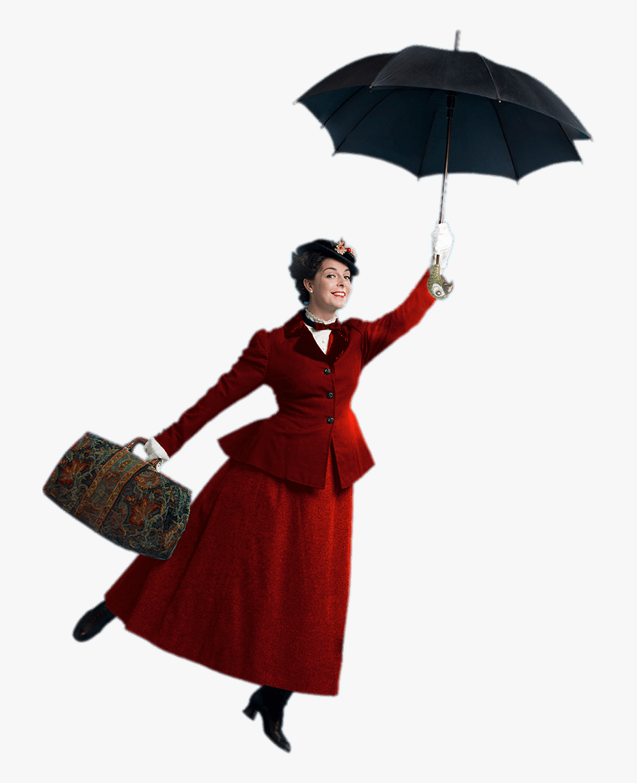 Mary Poppins With Open Umbrella - Mary Poppins White Background, Transparent Clipart