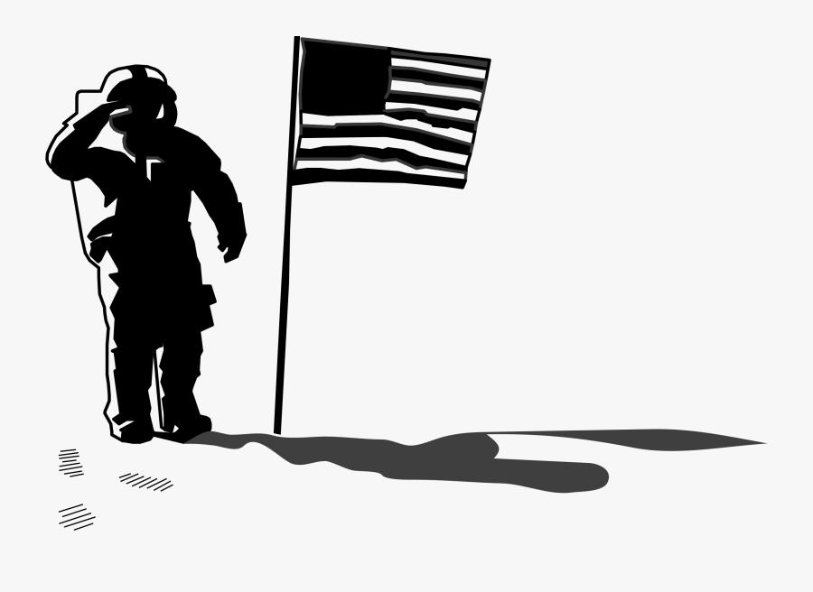 Clip Art Moon Landing Clipart - Astronaut On The Moon Silhouette, Transparent Clipart