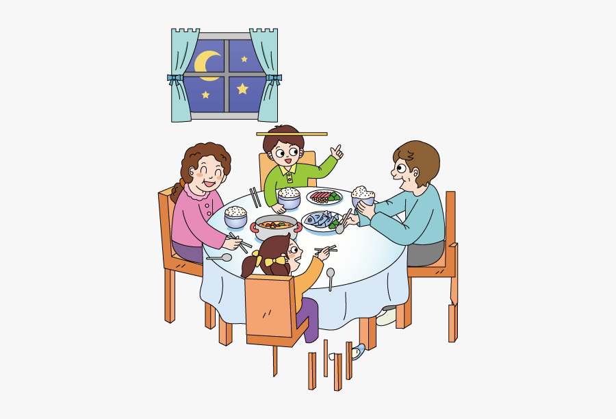 Cartoon Illustration Family Transprent - Eating With Family Clipart, Transparent Clipart