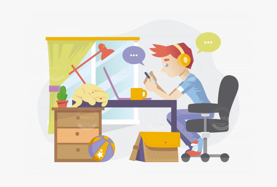 Clip Art A Freelancer In Working - Cartoon, Transparent Clipart