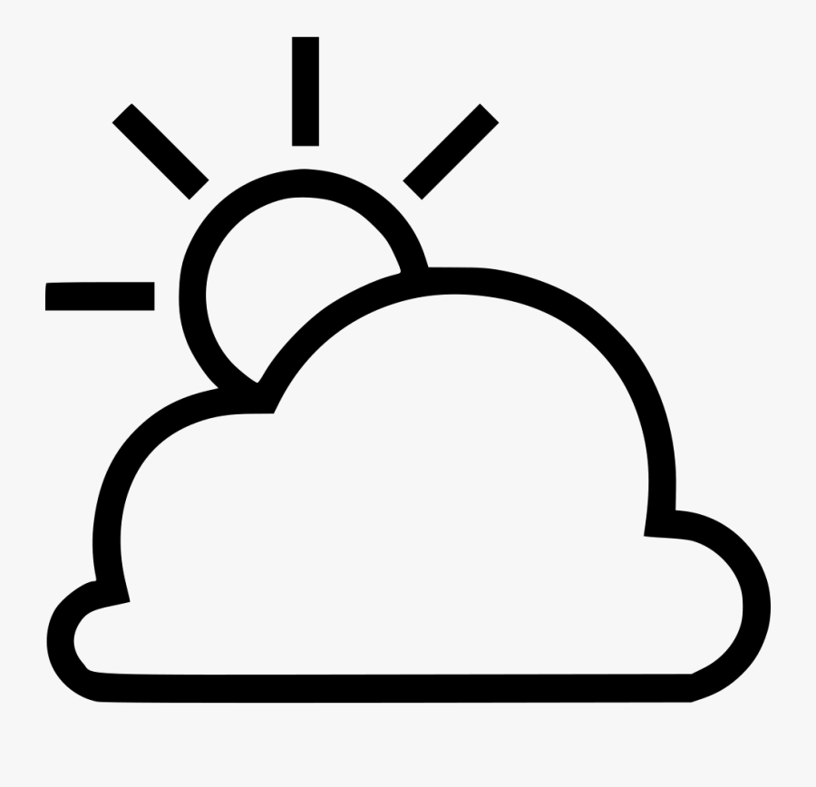 Partly Cloudy - Clip Art Black And White Partly Cloudy, Transparent Clipart