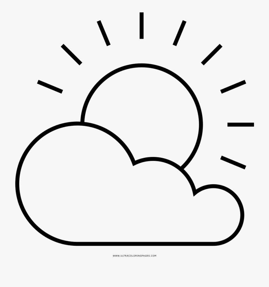 Partly Cloudy Coloring Page - Partly Cloudy Para Colorear, Transparent Clipart