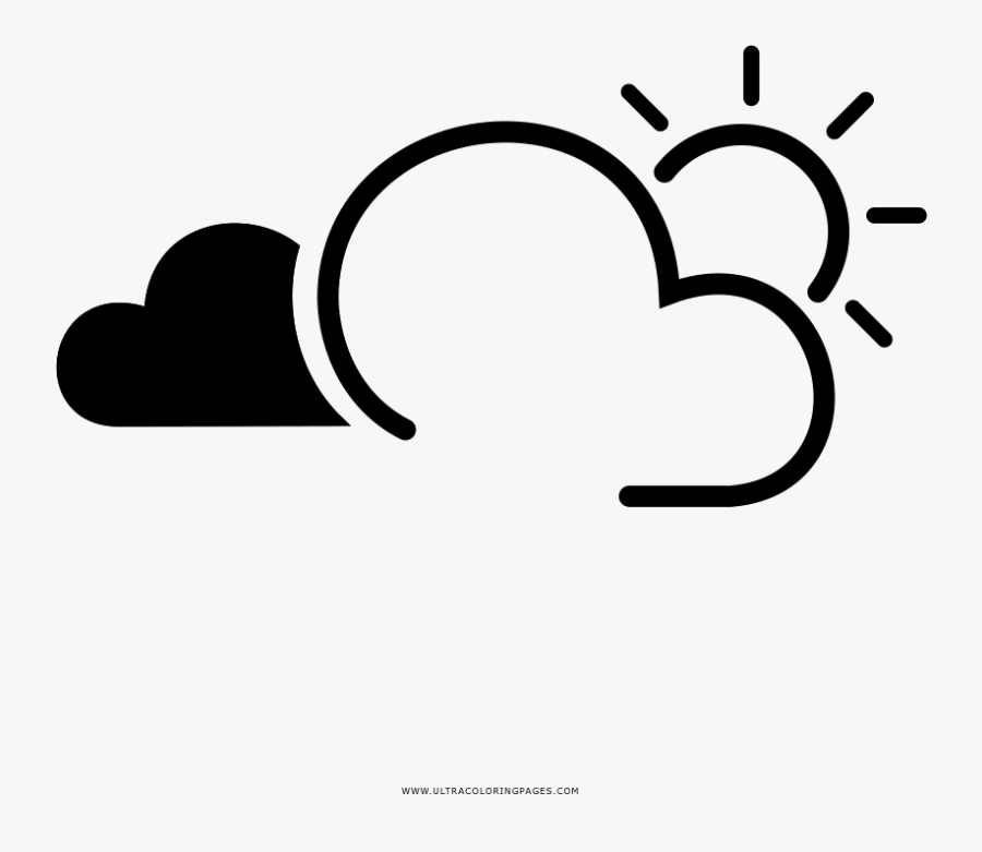 Partly Cloudy Coloring Page - Clima Icon, Transparent Clipart
