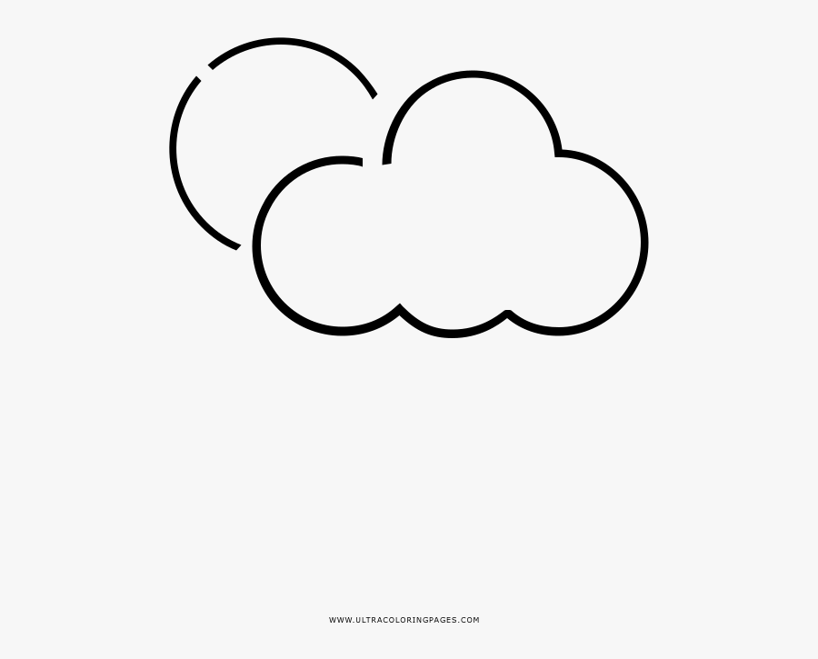 Partly Cloudy Coloring Page - Line Art, Transparent Clipart