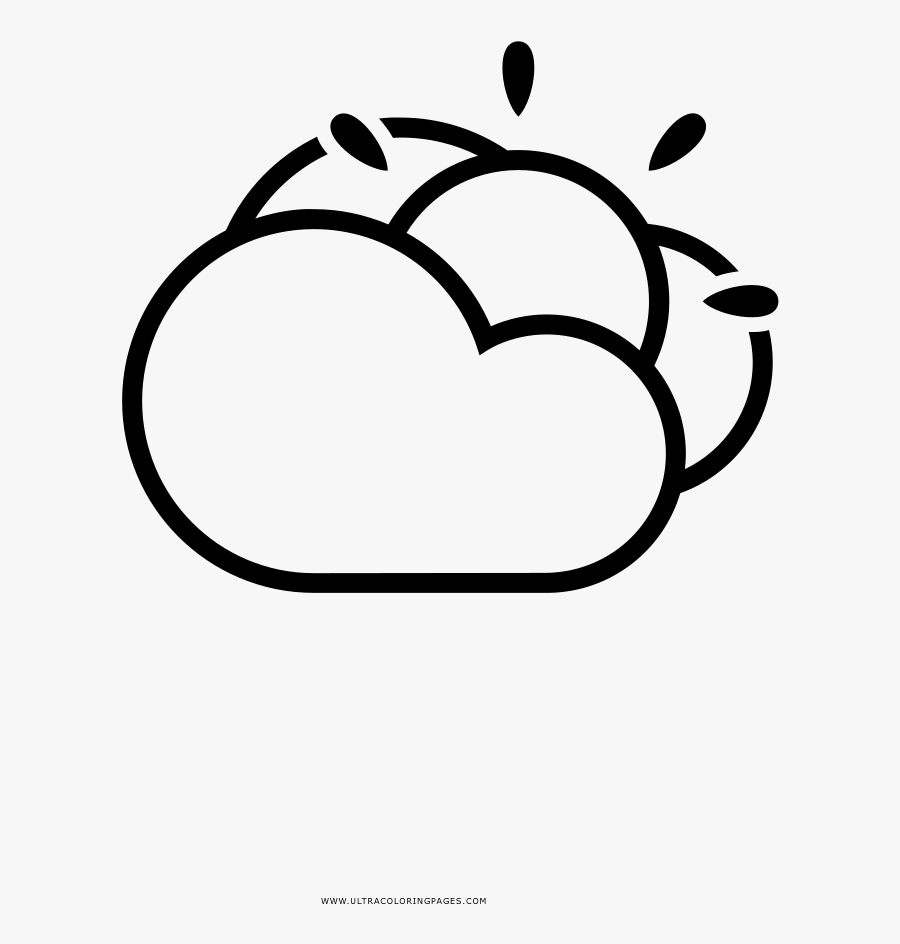 Partly Cloudy Coloring Page - Lluvia Y Sol Dibujo, Transparent Clipart