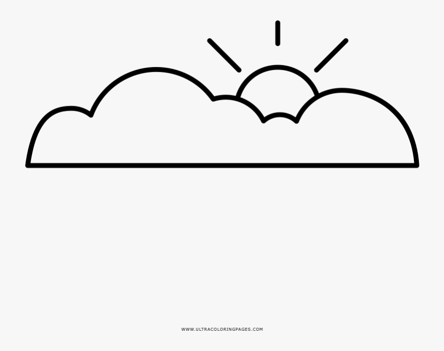 Partly Cloudy Coloring Page, Transparent Clipart