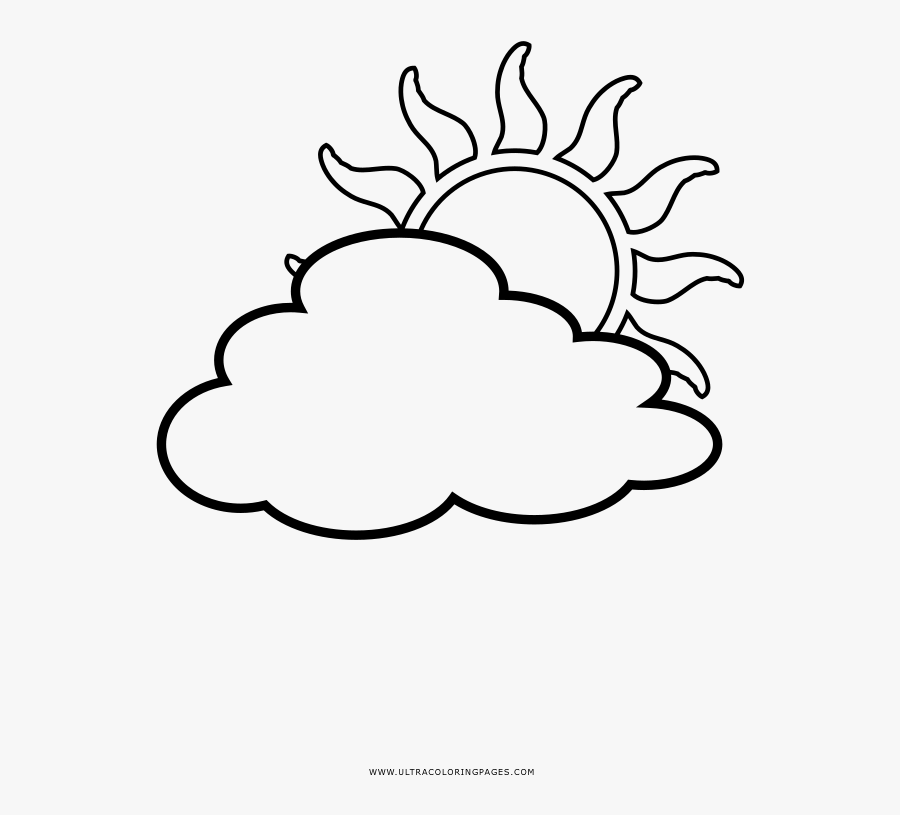 Partly Cloudy Coloring Page - Mewarnai Gambar Matahari Dan Awan, Transparent Clipart