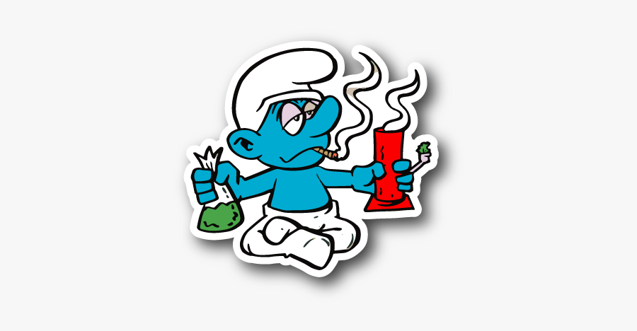 Blue Cartoon Hitting A Cartoon Characters Smoking Weed Png
