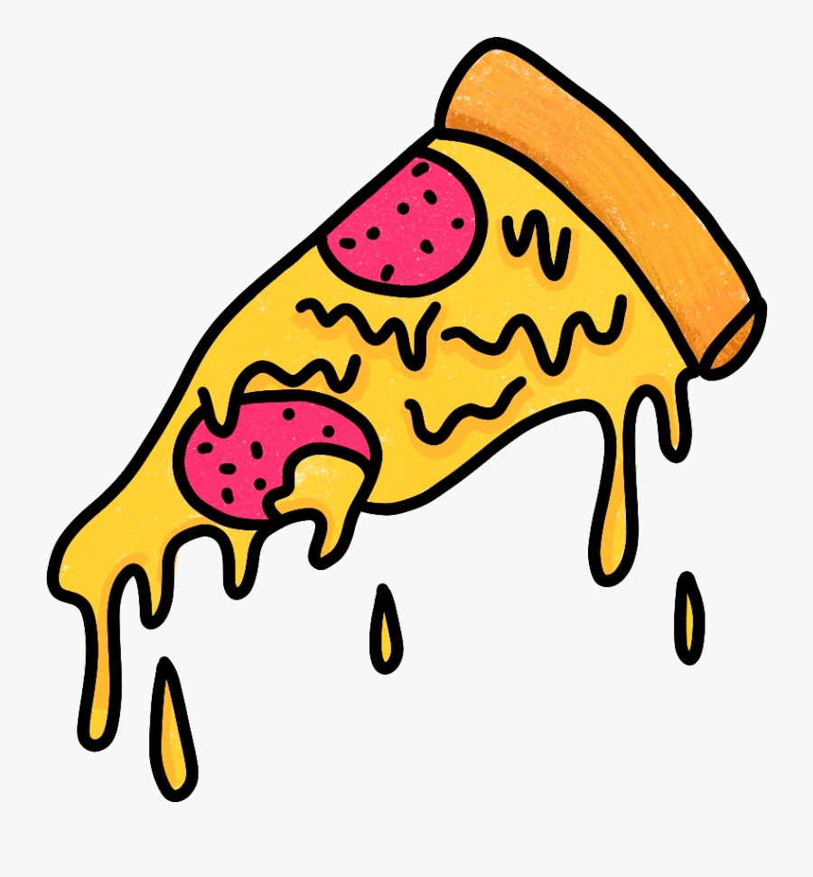 #grimeart #pizza #pepperonipizza #pepperoni #cheese - Melting Pizza Cartoon Png, Transparent Clipart