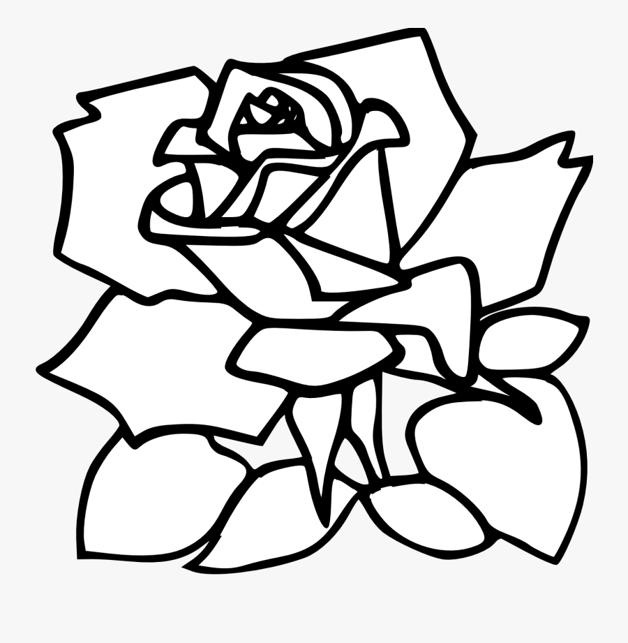 Transparent Rose Clipart Black And White - Butterfly And Rose Coloring Pages, Transparent Clipart
