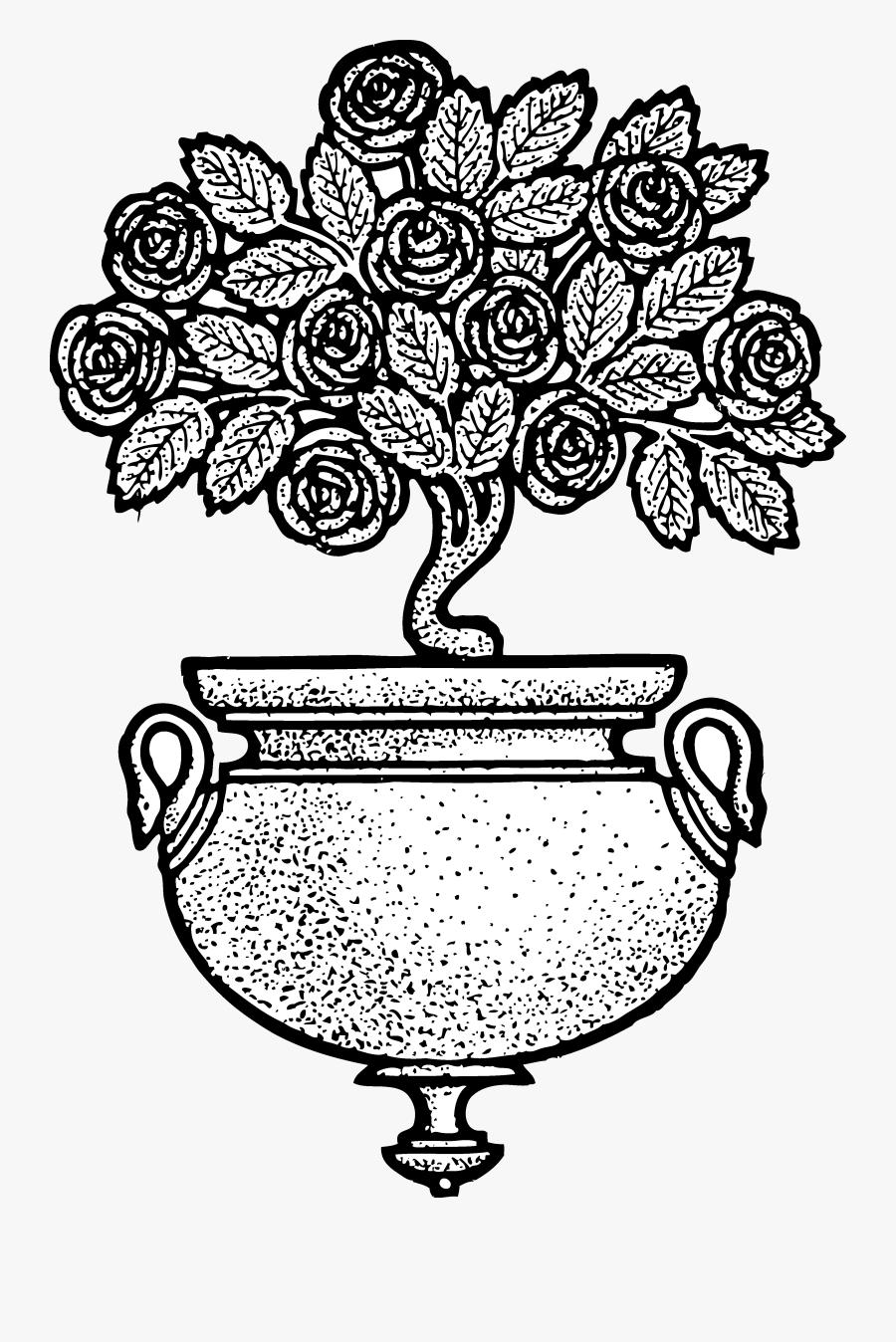 Vintage Flower Clipart Black And White - Flower Pot Design Clip Art, Transparent Clipart