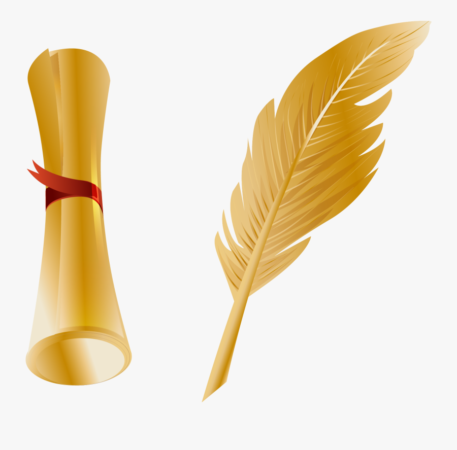 Paper Quill Pen Feather - Paper And Quill Graphic Png, Transparent Clipart