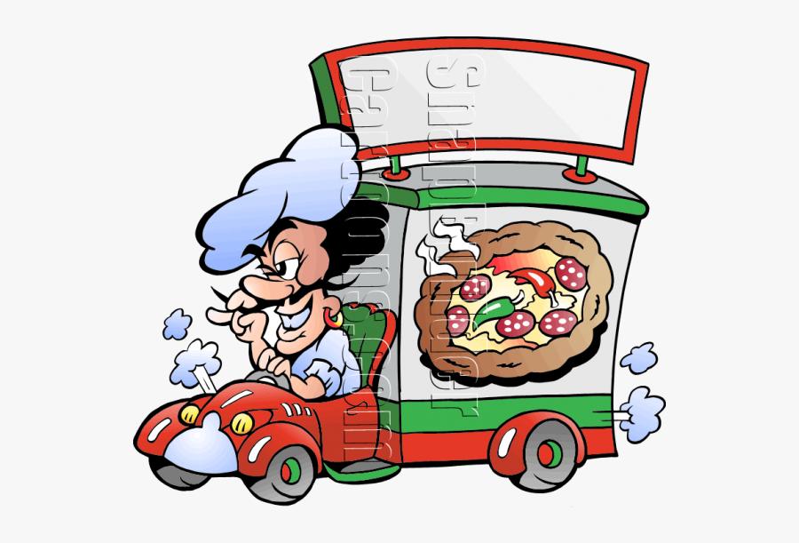 Pizza Chef Deliver Pizza - Clip Art Of A Pizza Truck, Transparent Clipart