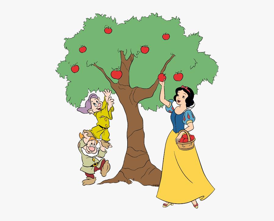 Snow White Picking Apples, Transparent Clipart