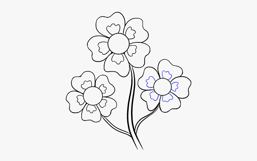 Easy Drawing Flower Color, Transparent Clipart