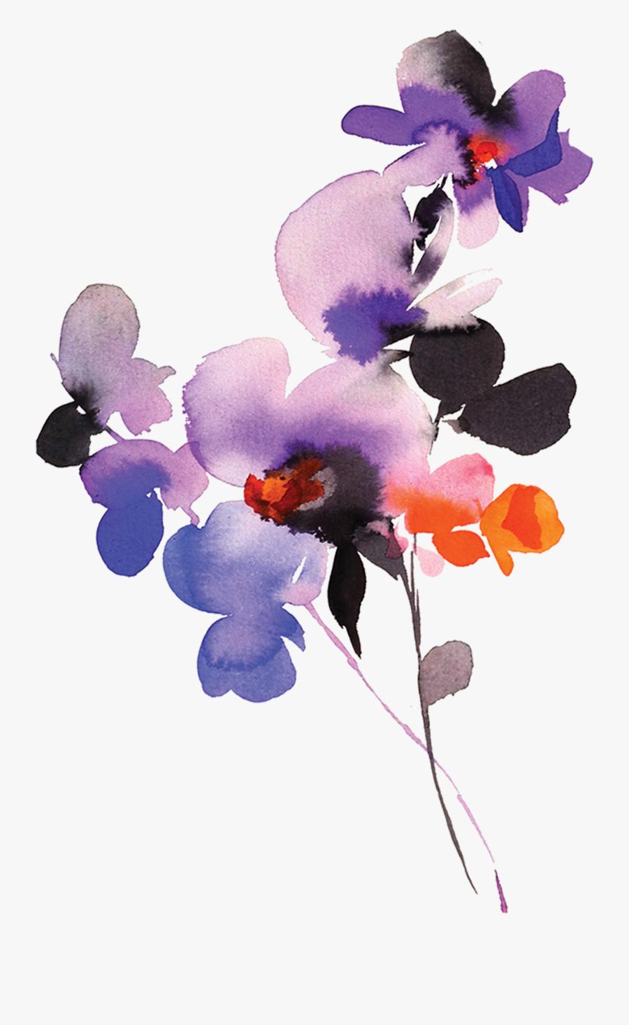 Transparent Purple Orchid Clipart - Watercolour Temporary Tattoo, Transparent Clipart