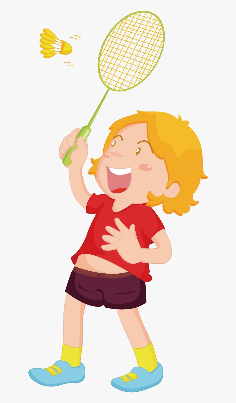 Badminton Clipart Child - Children Playing Badminton, Transparent Clipart