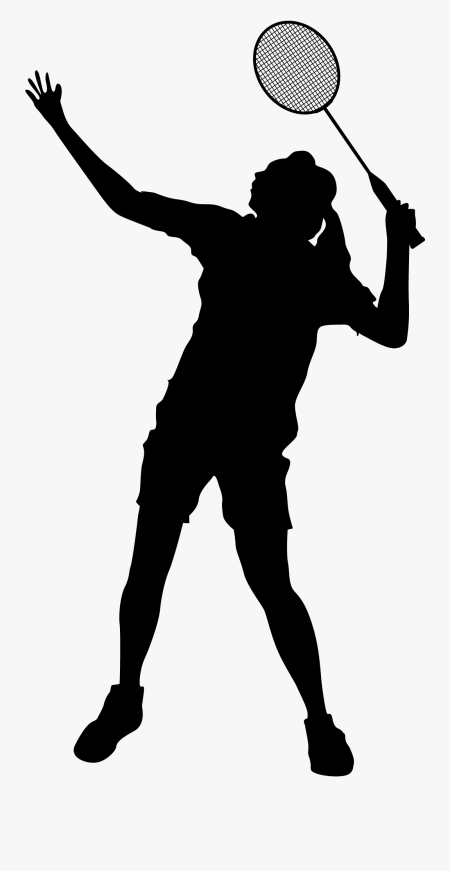 Badminton Download Clip Art - Female Badminton Player Silhouette, Transparent Clipart