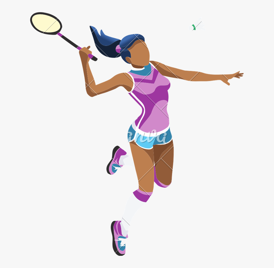 Vector Freeuse Download Girl Icons By Canva - Girl Playing Badminton Clipart, Transparent Clipart
