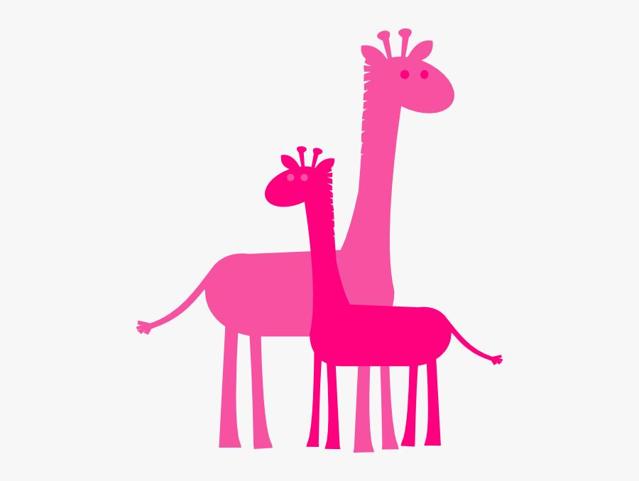 Pink Baby Giraffe Clip Art Download - Giraffe Mother And Baby Birthday, Transparent Clipart