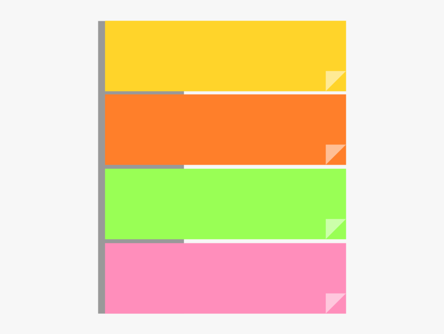 Post It Note,square,angle - Colorful Sticky Notes Png, Transparent Clipart