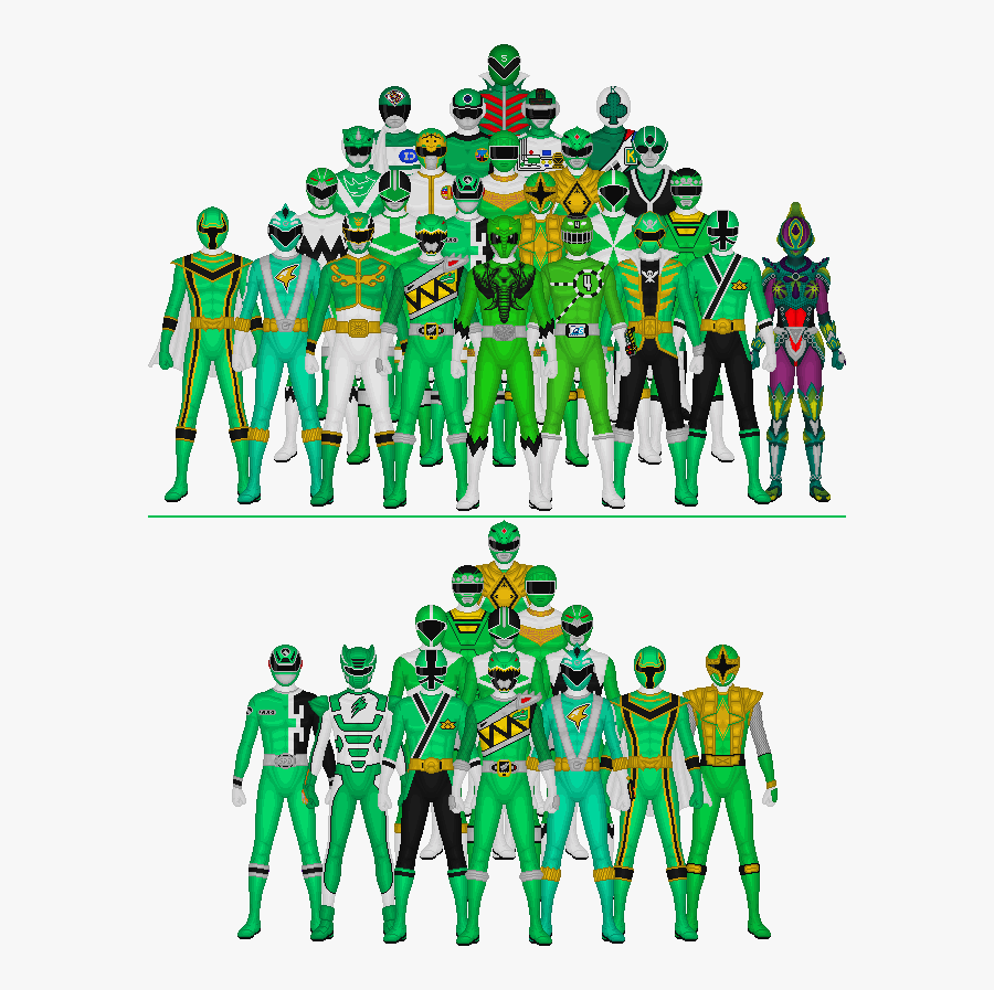 This Is A Group Shot Of Every Red Warrior From The - Power Rangers All Green, Transparent Clipart