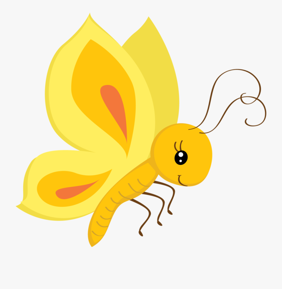 Free Butterfly Download Clip - Cute Yellow Butterfly Clipart, Transparent Clipart