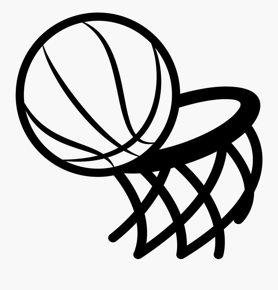 Graphic Freeuse Basketball Hoop Black And White Clipart - Basketball And Hoop Svg, Transparent Clipart