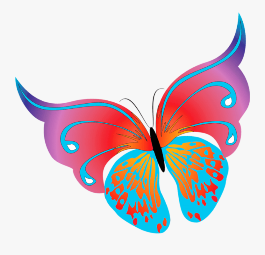 Painted Transparent Butterfly Png Clipart - Purple Butterfly Flower Clip Art, Transparent Clipart