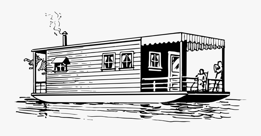 Fishing Boat Clipart Houseboat House Boat Clipart Black And White Free Transparent Clipart Clipartkey