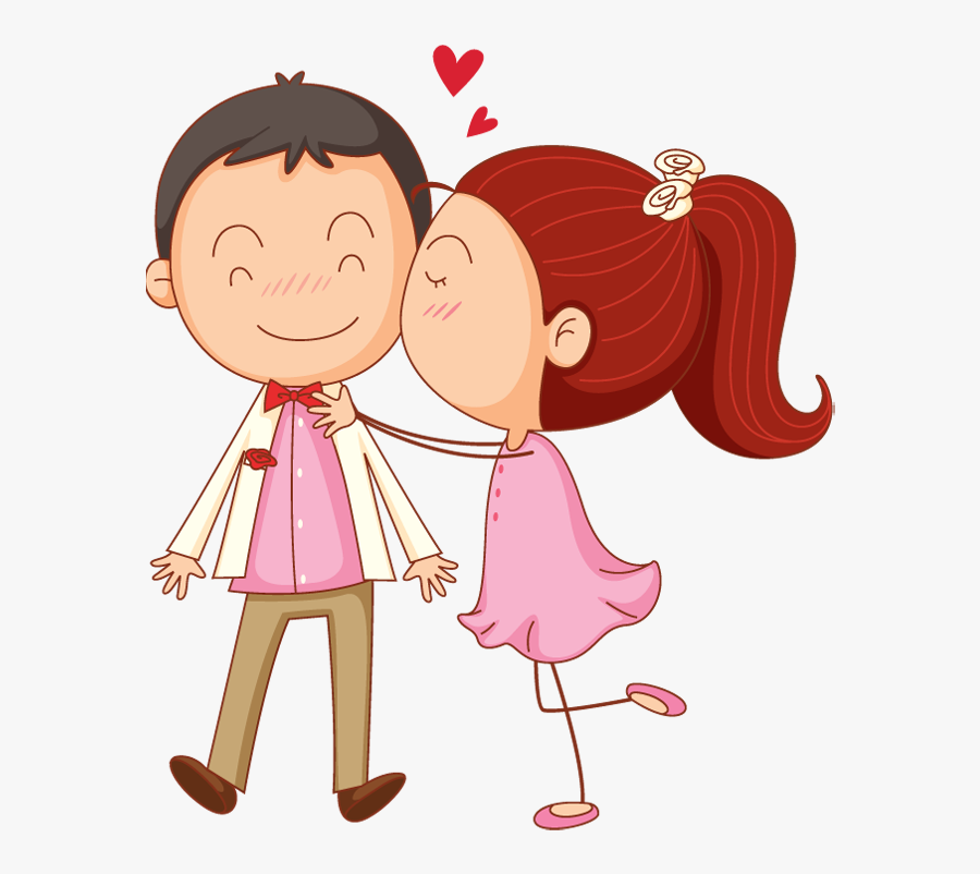 Valentines Day Cartoon Man And Woman Kiss Surprise - Love Clipart, Transparent Clipart