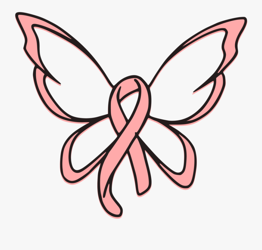 Breast Cancer Ribbon Butterfly Svg Cut File Cancer Ribbon With Butterfly Wings Free Transparent Clipart Clipartkey
