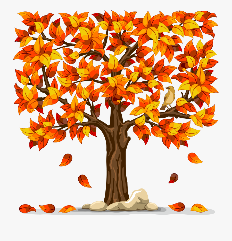 Tree With Falling Leaves Clip Art - Tree With Fall Leaves, Transparent Clipart