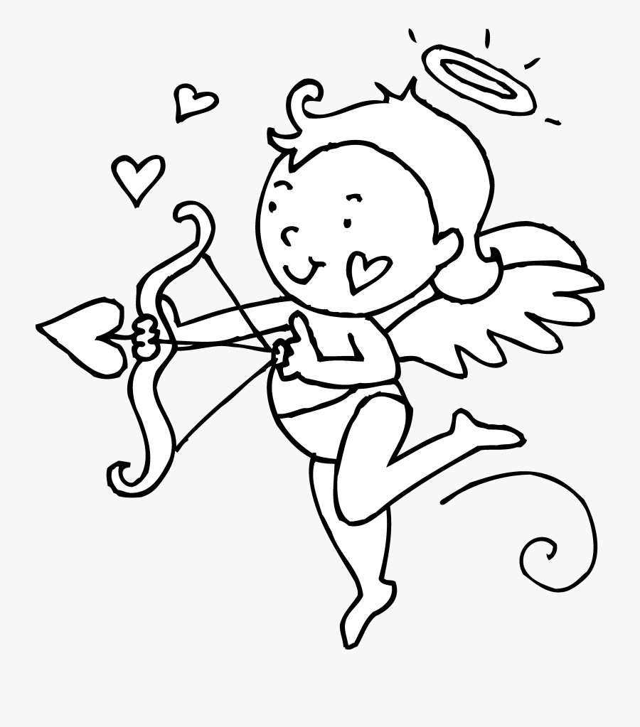 Cute Cupid Valentines Day Coloring Page - Valentine's Day Clipart Black And White, Transparent Clipart