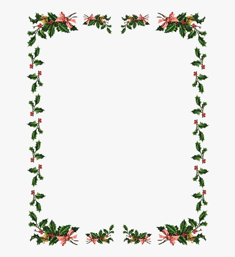 Christmas Border Flowers Borders Clipart X Transparent - Holly Clipart Border, Transparent Clipart