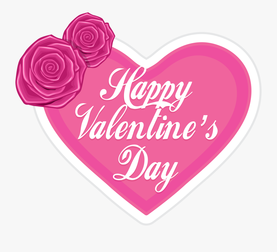 """Happy Valentine""""s Day Pink Heart Png Clip Art - Happy Valentines Day Transparent, Transparent Clipart"""