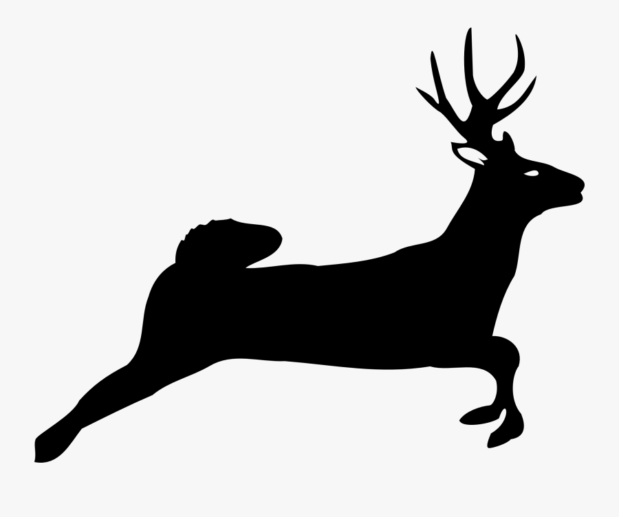 Deer Jumping - White Tailed Deer Silhouette, Transparent Clipart
