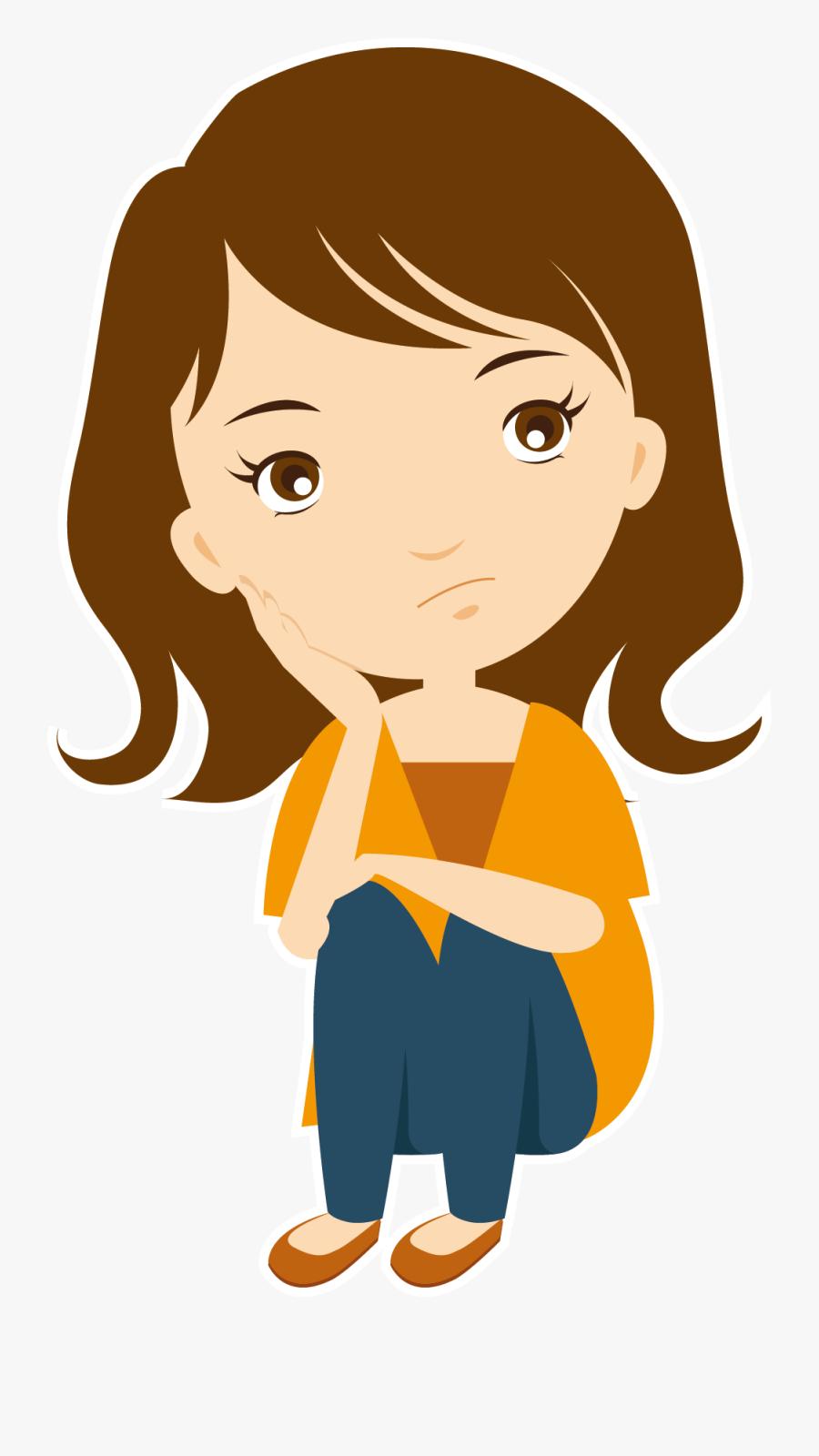 Roke Na Ruke Naina Clip Art - Png Of Girl Thinking, Transparent Clipart