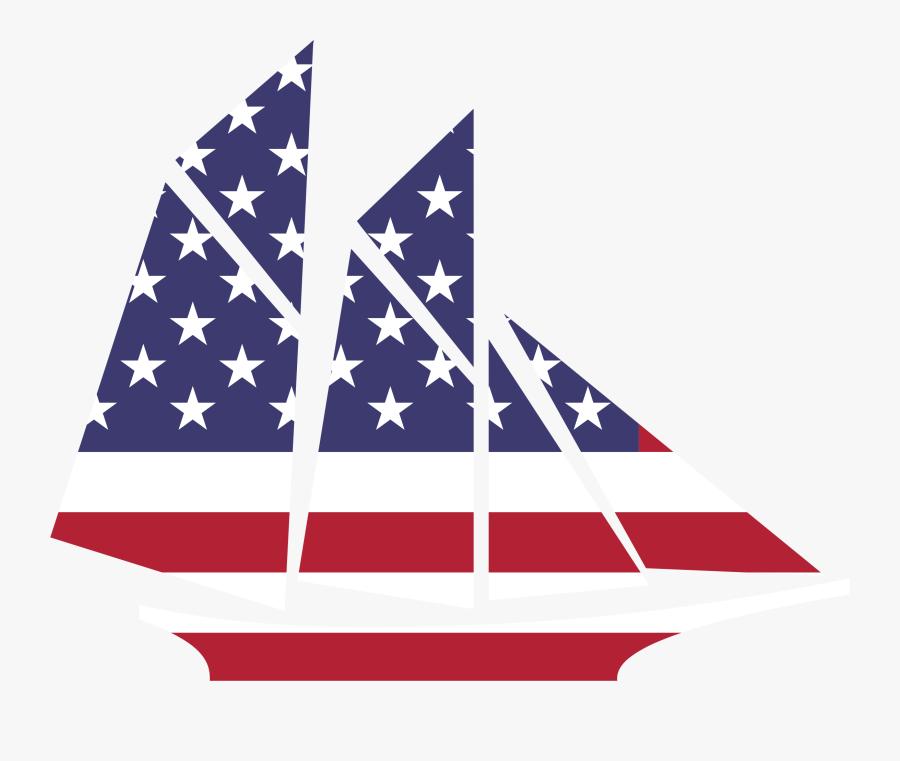 American Flag Sailboat Clipart - American Flag Ship Clip Art, Transparent Clipart